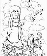 Fatima Coloring Lady Catholic Colorir sketch template