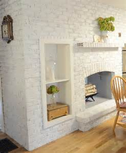 Whitewash Brick Fireplace with Chalk Paint