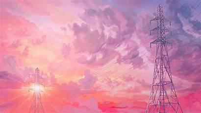 Pink Sunset Illustration Arseniy Chebynkin Wallpapers Desktop