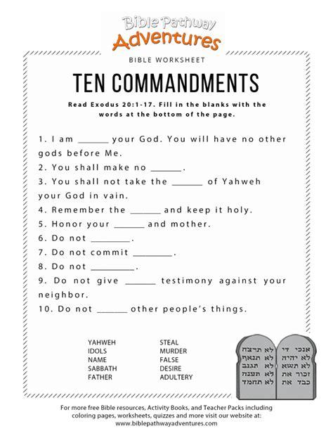 Ten Commandments Worksheet For Kids  Free Download