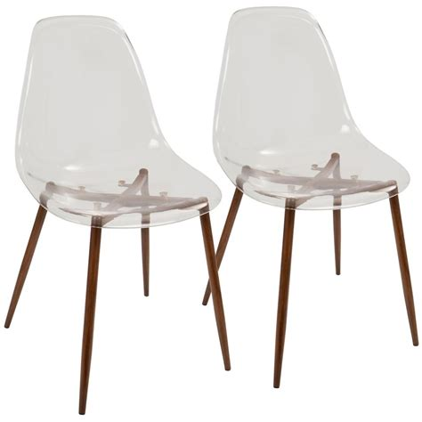Area Rugs For Kitchen Lumisource Clara Mid Century Clear Acrylic And Walnut Modern Dining Chair Set Of 2 Ch Clra Wl
