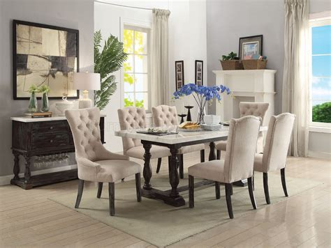 gerardo marble top dining table   weathered espresso