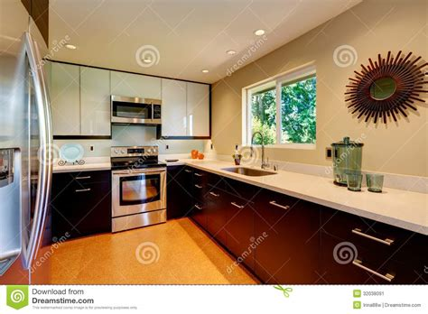 white and brown kitchen cabinets modern kitchen with white countertops white and brown new Modern
