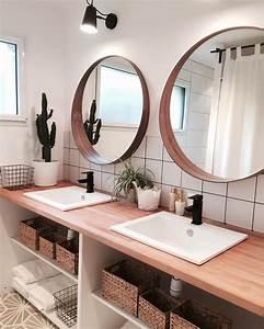Salle De Bain Nature Doubles Vasques Et Miroirs Ronds