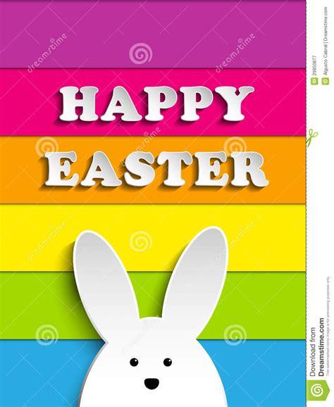 happy easter rabbit bunny  rainbow background stock