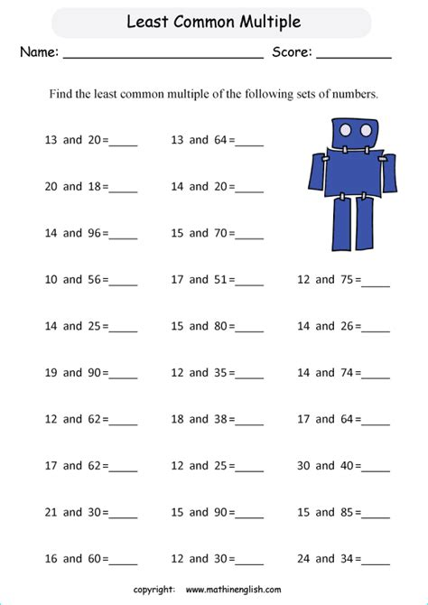 find the least common multiple of 2 numbers up to 100 math lcm worksheet for grade 5 or 6 class