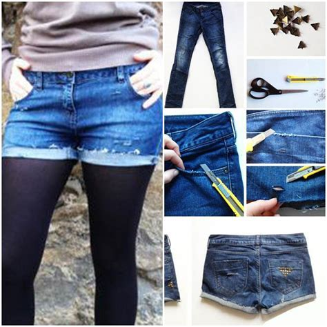 diy studded shorts   jeans