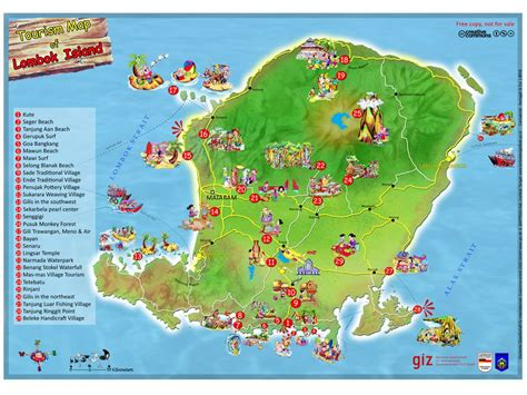 tourism map  lombok island indonesia lombok lombok