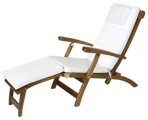 teak steamer w white cushion traditional outdoor