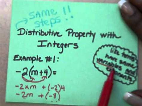 Distributive Property With Integers Youtube