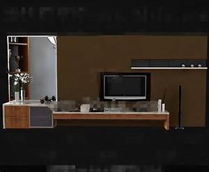 Moderne Holz Braun Gelb TV Schrank 3D Model DownloadFree