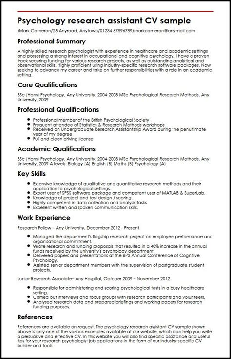 Psychology Curriculum Vitae Exles by Psychology Research Assistant Cv Sle Myperfectcv