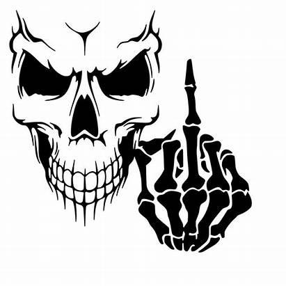 Skull Finger Middle Skeleton Vinyl Decal Sticker