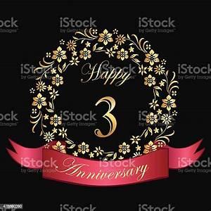 Happy, Third, Anniversary, Card, Stock, Illustration