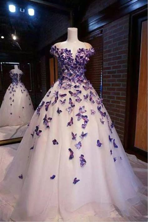 purple butterfly appliques ball quinceanera dress birthday
