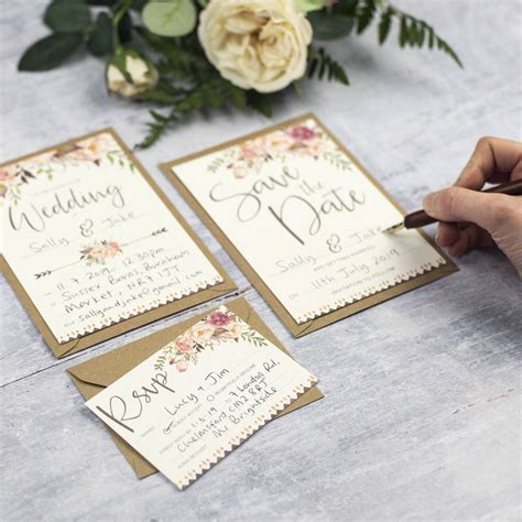Boho Floral Diy Wedding Invitation Set By Russet And Gray
