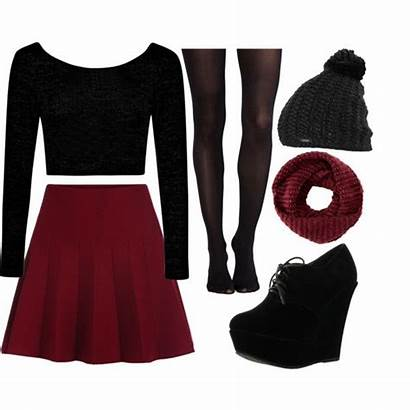 Polyvore Skirt Skater Outfit Maroon Outfits Skirts