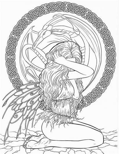 Coloring Gothic Mermaid Selina Fantasy Adults Dark