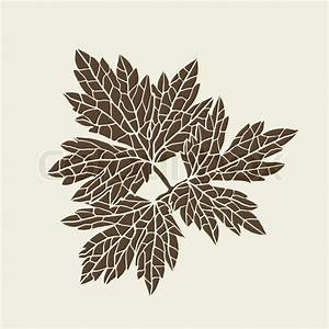 Stylized Detail Silhouette Of Leaf
