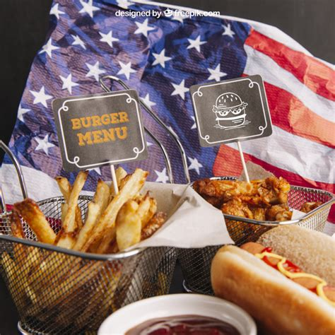 This free mockup designed in photoshop (.psd) with a smart object layer feature. Fast food mockup on american flag PSD file   Free Download