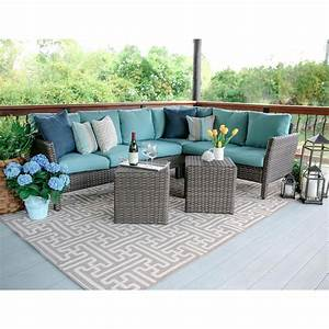 canton 6 piece wicker outdoor sectional set with blue With home depot sectional sofa outdoor