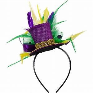 Mini Mardi Gras Glitter Top Hat Headband w/ Feathers