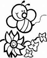 Coloring Bumblebee Happy Flowers Pages Print sketch template