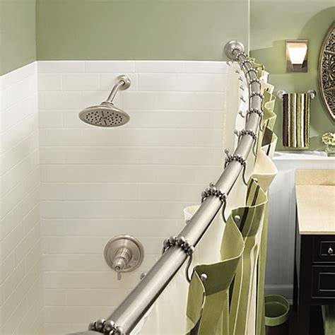 bed bath and beyond shower curtain rod moen 174 adjustable curved brushed nickel shower rod bed