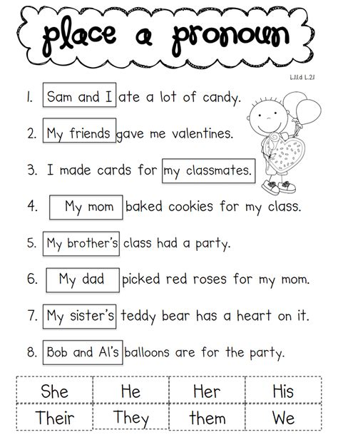 Pronoun Valentinepdf  School  Ela  Pinterest  Pdf, Language And Worksheets