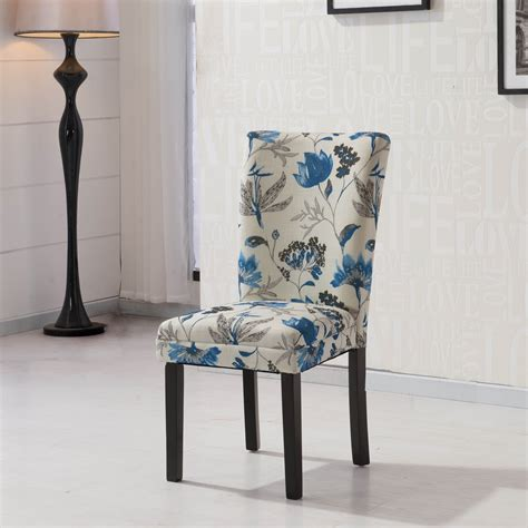 furniture hlw arbonni blue floral fabric modern parson