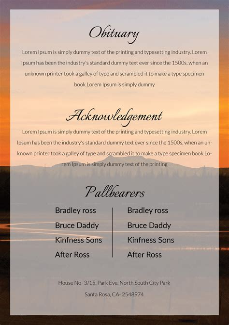 funeral obituary template  adobe photoshop microsoft word