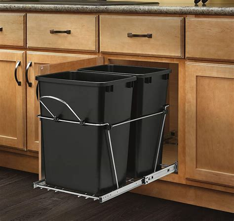 35qt Under Cabinet Pull Out Trash Can 2 Bin Undersink