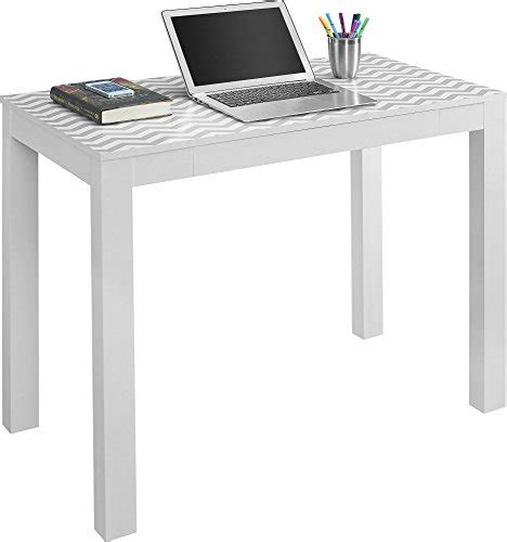 altra parsons desk with drawer white gray chevron new