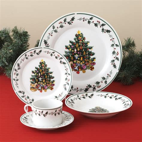 christmas holidays tree trimmings holly 20 piece porcelain