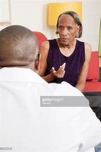Senior Africanamerican Woman Talking To A Therapist Stock ...