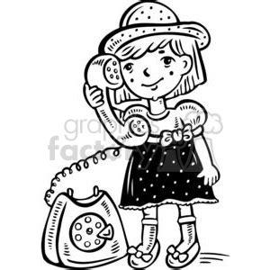 royalty  small girl talking   phone  vector clip art image eps svg