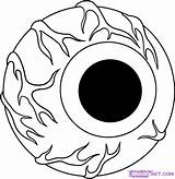 Halloween Draw Eyeball Coloring Scary Drawing Drawings Pages Cool Cartoon Step Eye Ball Eyes Cliparts Easy Clipart Sheets Pumpkin Creepy sketch template