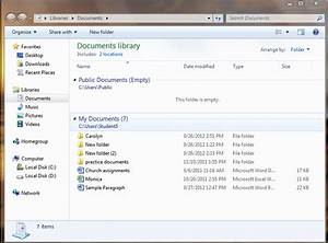 viewing the documents library displays my documents folder With documents library folder