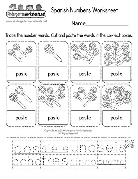 spanish number worksheet  kindergarten learning