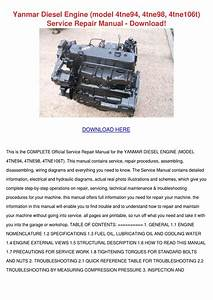 Yanmar Diesel Engine Model 4tne94 4tne98 4tne By