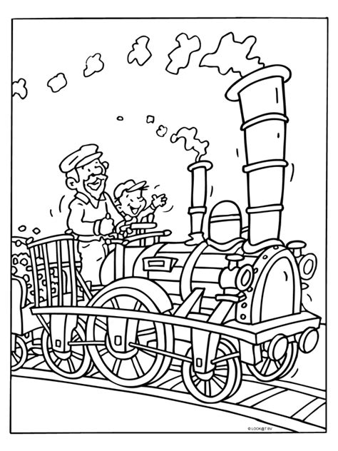 Kleurplaat Trein Met Wagonnetjes by Kleurplaat Stoomtrein Met Machinist Kleurplaten Nl