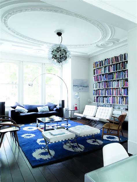 unique blue  white living room design ideas