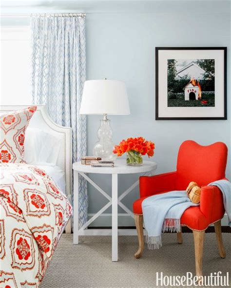 blue orange color scheme  master bedroom stylish patina