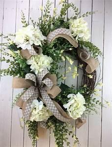 Front, Door, Wreath, Hydrangea, Wreath, White, Hydrangea, Wreath, Hydrangea, Wreath, Spring, Summer