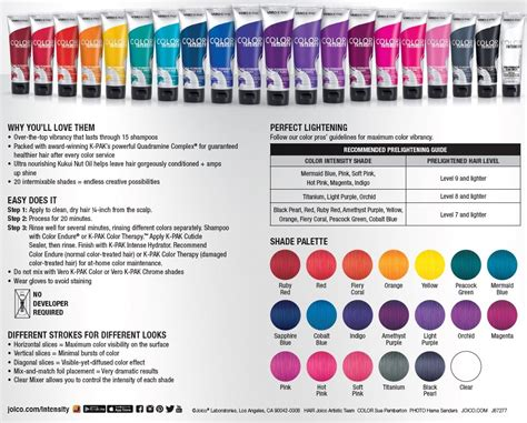 joico color intensity fact sheet color intensitys