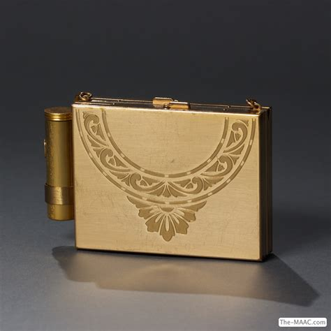 gold plated vintage  ladies compact  cigarette