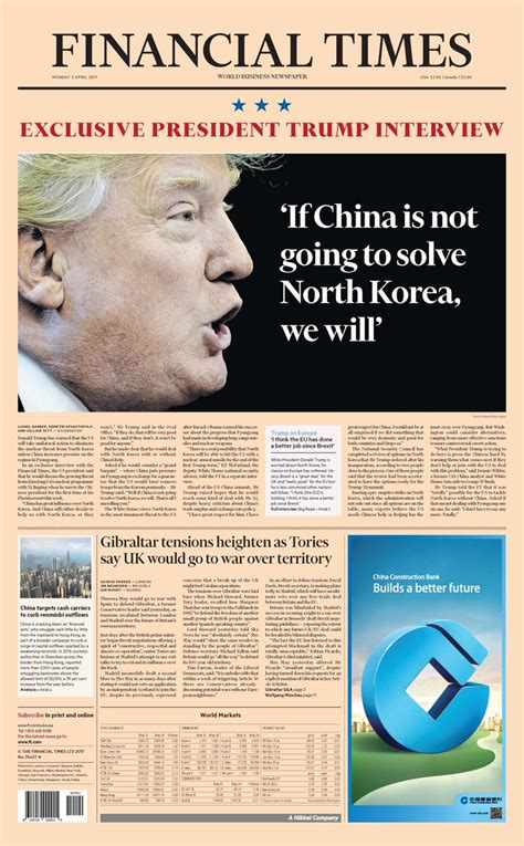 Just published: front page of the Financial Times ...