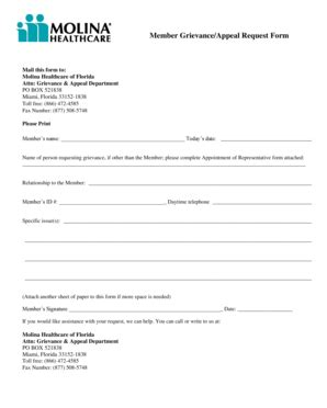 fillable  member grievanceappeal request form mail