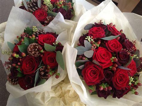 Dark Red Winter Bouquet Bristol Winter Wedding Flowers