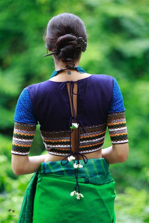 shades  blue purple mogra cotton khun blouse simple